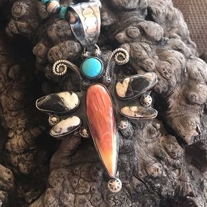 Jewelry - Navajo Sterling Multi Stone Dragonfly Pendant